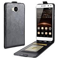 お買い得  携帯電話ケース-ケース 用途 Huawei Y6 (2017)(Nova Young) / Y5 III(Y5 2017) カードホルダー / フリップ フルボディーケース ソリッド ハード PUレザー のために Huawei Y7(Nova Lite+) / Huawei Y6II Compact / Huawei Y6 (2017)(Nova Young)