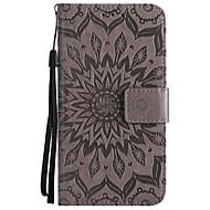 voordelige Telefoon hoesjes-hoesje Voor LG Q6 K8 (2017) Kaarthouder Portemonnee met standaard Reliëfopdruk Volledige behuizing Effen Kleur Bloem Hard PU-leer voor LG