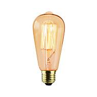 Χαμηλού Κόστους -BriLight 1pc 40 W E27 E26/E27 ST64 Θερμό Λευκό κ Λαμπτήρας πυρακτώσεως Vintage Edison AC 220-240V V