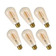 お買い得  -GMY® 6本 4.5W 320lm E26 フィラメントタイプLED電球 ST19 4 LEDビーズ COB 調光可能 エジソン球根 装飾用 LEDライト 温白色 110-130V