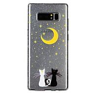 Недорогие Чехлы и кейсы для Galaxy Note 8-Кейс для Назначение SSamsung Galaxy Note 8 Полупрозрачный С узором Рельефный лакировка Кейс на заднюю панель Кот Сияние и блеск