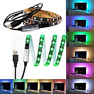 billige LED-stribelys-5v usb led strip 5050 rgb 60leds / m med 17key rf controller 1m sæt