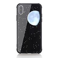 Недорогие Кейсы для iPhone 8 Plus-Кейс для Назначение Apple iPhone X iPhone 8 Защита от удара С узором Кейс на заднюю панель Цвет неба Твердый Закаленное стекло для iPhone
