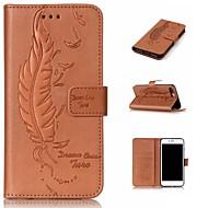 Недорогие Кейсы для iPhone 8 Plus-Кейс для Назначение Apple iPhone 8 iPhone 8 Plus Бумажник для карт Кошелек со стендом Флип Рельефный  Перья Твердый для