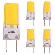 voordelige 2-pins LED-lampen-5 stuks 3W 260 lm 2-pins LED-lampen 1 leds COB LED Lamp Warm wit AC 220-240V