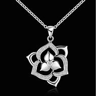 Недорогие Украшения в цветочном стиле-Жен. Ожерелья с подвесками - Серебрянное покрытие Цветы Мода Серебряный Ожерелье 1 Назначение Повседневные