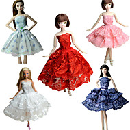 abordables Muñecas y Peluches-Fiesta/Noche Vestidos por Muñeca Barbie  Tela de Encaje Satín Vestido por Chica de muñeca de juguete