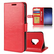Недорогие Чехлы и кейсы для Galaxy S-Кейс для Назначение SSamsung Galaxy S9 S9 Plus Бумажник для карт Кошелек со стендом Флип Магнитный Сплошной цвет Твердый для