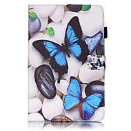Недорогие Чехлы и кейсы для Galaxy Tab E 9.6-Кейс для Назначение SSamsung Galaxy Tab E 9.6 Бумажник для карт Кошелек со стендом С узором Авто Режим сна / Пробуждение Чехол Бабочка