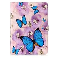Недорогие Чехлы и кейсы для Galaxy Tab E 9.6-Кейс для Назначение Samsung Бумажник для карт Кошелек со стендом С узором Авто Режим сна / Пробуждение Чехол Бабочка Твердый Кожа PU для
