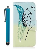 Недорогие Чехлы и кейсы для Galaxy A3(2016)-Кейс для Назначение Samsung A8 2018 A7(2017) Кошелек Бумажник для карт со стендом Флип Магнитный Чехол Животное Перья Твердый Кожа PU для