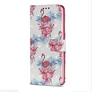 Недорогие Чехлы и кейсы для Galaxy S7-Кейс для Назначение SSamsung Galaxy S9 S9 Plus Бумажник для карт Кошелек со стендом Флип Магнитный Чехол Фламинго Твердый Кожа PU для S9