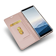Недорогие Чехлы и кейсы для Galaxy Note 8-Кейс для Назначение SSamsung Galaxy Note 8 Бумажник для карт со стендом Чехол Сплошной цвет Твердый Кожа PU для Note 8