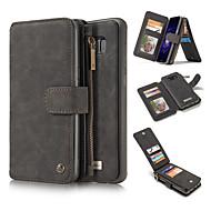Недорогие Чехлы и кейсы для Galaxy Note 8-Кейс для Назначение SSamsung Galaxy Note 8 Note 5 Бумажник для карт Кошелек со стендом Чехол Сплошной цвет Твердый Настоящая кожа для