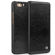お買い得  携帯電話ケース-ケース 用途 Huawei Honor V9 Play Honor V9 カードホルダー 耐衝撃 フリップ フルボディーケース 純色 ハード 本革 のために Honor 9