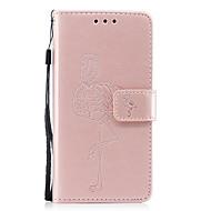 Недорогие Чехлы и кейсы для Huawei Honor-Кейс для Назначение Huawei P8 Lite (2017) P10 Lite Бумажник для карт Кошелек со стендом С узором Рельефный Чехол Сплошной цвет Фламинго