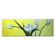 お買い得  -ハング塗装油絵 手描きの - 抽象画 花柄 / 植物の コンテンポラリー 近代の インナーフレームなし / ローリングキャンバス