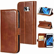 Недорогие Чехлы и кейсы для Galaxy S8-Кейс для Назначение SSamsung Galaxy S9 Plus / S9 Бумажник для карт / Флип / Магнитный Чехол Однотонный Твердый Настоящая кожа для S9 / S9 Plus / S8 Plus