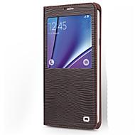 Недорогие Чехлы и кейсы для Galaxy Note-Кейс для Назначение SSamsung Galaxy Note 8 Note 5 Защита от удара с окошком Флип Чехол Полосы / волосы Твердый Настоящая кожа для Note 5
