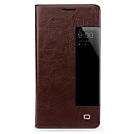 お買い得  携帯電話ケース-ケース 用途 Huawei Mate 10 lite Mate 10 耐衝撃 ウィンドウ付き フリップ フルボディーケース 純色 ハード 本革 のために Mate 10