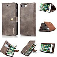 Недорогие Кейсы для iPhone 8-Кейс для Назначение Apple iPhone X Бумажник для карт Кошелек Флип Магнитный Чехол Сплошной цвет Твердый Настоящая кожа для iPhone X