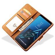 Недорогие Чехлы и кейсы для Galaxy А-Кейс для Назначение SSamsung Galaxy A8 Plus 2018 А7 (2018) Бумажник для карт Кошелек Чехол Сплошной цвет Твердый Кожа PU для A5(2018)