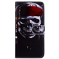 Недорогие Кейсы для iPhone 8-Кейс для Назначение Apple iPhone X iPhone 6 Бумажник для карт Флип С узором Чехол Черепа Твердый Кожа PU для iPhone X iPhone 8 Pluss