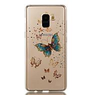 halpa Galaxy A -sarjan kotelot / kuoret-Etui Käyttötarkoitus Samsung Galaxy A8 2018 A8 Plus 2018 IMD Kuvio Takakuori Perhonen Kimmeltävä Pehmeä TPU varten A3 (2017) A5 (2017)