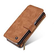 Недорогие Чехлы и кейсы для Galaxy Note 8-Кейс для Назначение SSamsung Galaxy Note 8 Note 5 Бумажник для карт Кошелек Чехол Сплошной цвет Твердый Настоящая кожа для Note 8 Note 5
