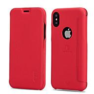 Недорогие Кейсы для iPhone 8 Plus-Кейс для Назначение Apple iPhone X iPhone 8 Бумажник для карт Защита от удара Флип Матовое Чехол Сплошной цвет Твердый Кожа PU для iPhone
