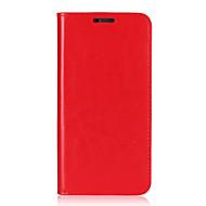 お買い得  携帯電話ケース-ケース 用途 LG G6 カードホルダー スタンド付き フリップ フルボディーケース 純色 ハード 本革 のために LG G6