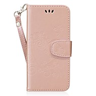 Недорогие Чехлы и кейсы для Galaxy S7 Edge-Кейс для Назначение SSamsung Galaxy S8 Plus S8 Бумажник для карт Кошелек со стендом Флип Рельефный Чехол Сплошной цвет Бабочка Твердый