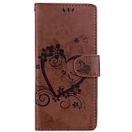 Недорогие Чехлы и кейсы для Galaxy Note-Кейс для Назначение SSamsung Galaxy Note 8 Note 5 Бумажник для карт Кошелек со стендом Флип Рельефный Чехол Сплошной цвет Бабочка Твердый