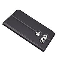 お買い得  携帯電話ケース-ケース 用途 LG V30 カードホルダー スタンド付き フルボディーケース 純色 ハード PUレザー のために LG V30
