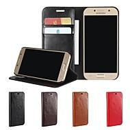 Недорогие Чехлы и кейсы для Galaxy A5(2017)-Кейс для Назначение SSamsung Galaxy A8 2018 / A5(2017) Кошелек / Бумажник для карт / Защита от удара Чехол Однотонный Твердый Настоящая кожа для A3 (2017) / A5 (2017) / A8 2018