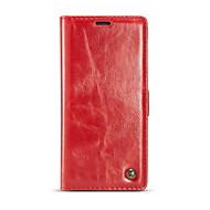 Недорогие Чехлы и кейсы для Galaxy Note-Кейс для Назначение SSamsung Galaxy Note 8 Бумажник для карт Кошелек Флип Чехол Однотонный Твердый Настоящая кожа для Note 8