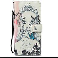 Недорогие Чехлы и кейсы для Galaxy S9 Plus-Кейс для Назначение SSamsung Galaxy S9 S9 Plus Бумажник для карт Кошелек со стендом Флип С узором Чехол Бабочка Соблазнительная девушка