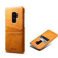 Недорогие Чехлы и кейсы для Galaxy S9 Plus-Кейс для Назначение SSamsung Galaxy S9 S9 Plus Бумажник для карт Кейс на заднюю панель Однотонный Твердый Настоящая кожа для S9 Plus S9