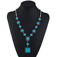 abordables Turquoise-Collier Cravate Collier Sautoir Turquoise dames Ethnique Mode Turquoise 69.8+5.5 cm Colliers Tendance Bijoux pour Vacances Sortie Forme de Cercle Forme Géométrique