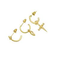 여성용 드랍 귀걸이 귀는 귀걸이 십자가 숙녀 패션 보석류 골드 제품 선물 데이트 3PCS