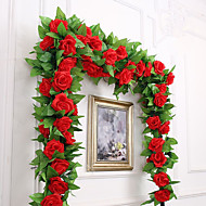 abordables Flores Artificiales-Flores Artificiales 1 Rama Fiesta / Noche / Boda Rosas Flor de Pared