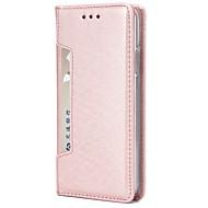 Недорогие Чехлы и кейсы для Galaxy S7-Кейс для Назначение SSamsung Galaxy S9 Plus S8 Plus Бумажник для карт Кошелек Флип Магнитный Чехол Однотонный Твердый Настоящая кожа для