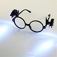 お買い得  -HKV 2pcs 虫眼鏡 LEDナイトライト クールホワイト ボタン電池駆動 読書 クリップ付き コンパクトデザイン バッテリー トン