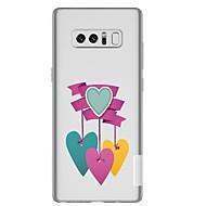Недорогие Чехлы и кейсы для Galaxy Note-Кейс для Назначение SSamsung Galaxy Note 8 Прозрачный С узором Кейс на заднюю панель С сердцем Мягкий ТПУ для Note 8