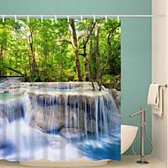 お買い得  浴室用小物-シャワーカーテン&フック 田園風 ポリエステル ノベルティ柄 機械製 防水 浴室