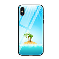 cheap -Case For Apple iPhone X iPhone 8 Pattern Back Cover Plants Hard Tempered Glass for iPhone X iPhone 8 Plus iPhone 8 iPhone 7 iPhone 6s