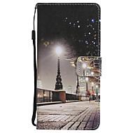 Недорогие Чехлы и кейсы для Galaxy Note 8-Кейс для Назначение SSamsung Galaxy Note 8 Бумажник для карт со стендом Флип С узором Чехол Вид на город Эйфелева башня Твердый Кожа PU