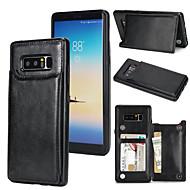 Недорогие Чехлы и кейсы для Galaxy Note 8-Кейс для Назначение SSamsung Galaxy Note 8 Бумажник для карт со стендом Кейс на заднюю панель Однотонный Твердый Кожа PU для Note 8