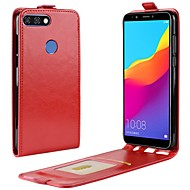 Недорогие Чехлы и кейсы для Huawei Honor-Кейс для Назначение Huawei Y9 (2018)(Enjoy 8 Plus) Honor 9 Lite Бумажник для карт Флип Чехол Однотонный Твердый Кожа PU для Huawei Honor