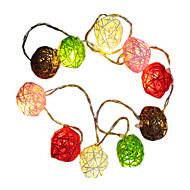 abordables Tiras de Luces LED-0.015m Cuerdas de Luces 10 LED Blanco Cálido Decorativa Pilas AA alimentadas 1pc